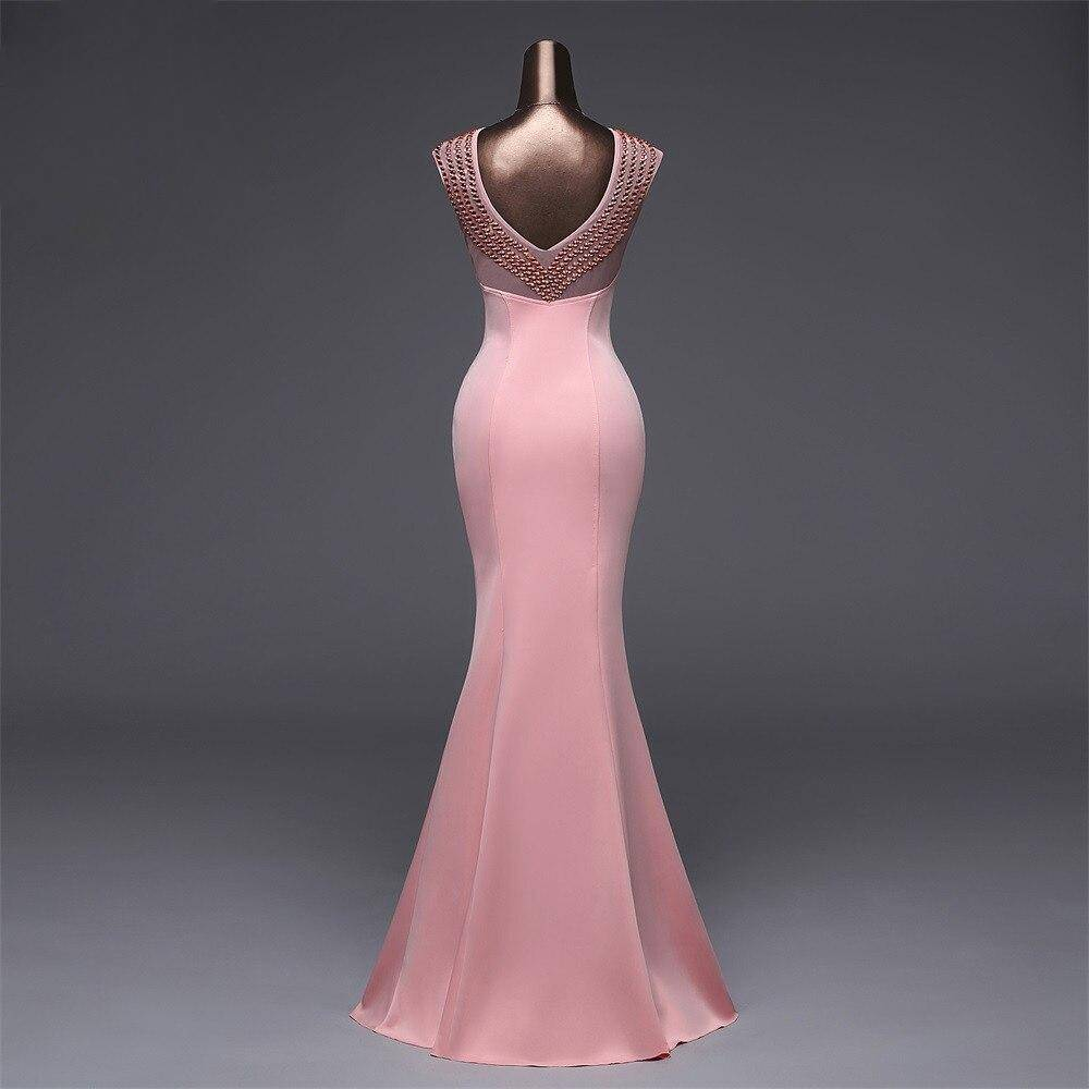 Poems Songs Backless Pink Evening dress luxury Prom Formal Party dress Elegant Vintage robe longue