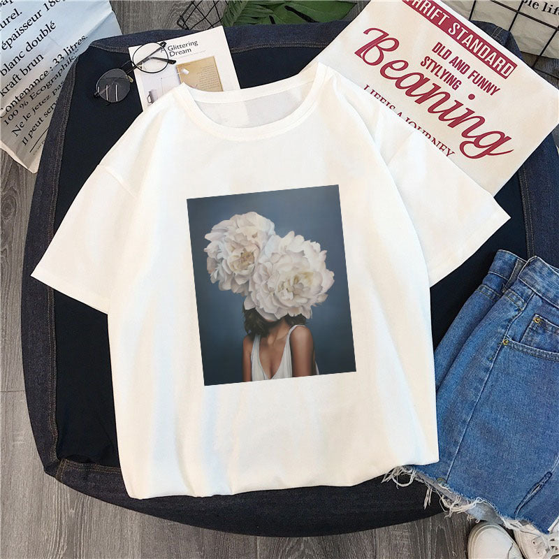 Cotton Harajuku Aesthetics Tshirt Flowers Feather Print Short Sleeve Tops & Tees Casual Couple T Shirt Women