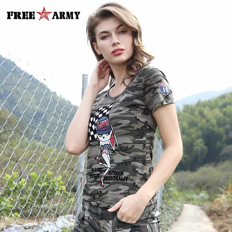 New Arrival Summer T-shirt Women Fashion Army Green Camouflage Solid Color O-Neck Cotton Cartoon Pattern Female-SHIRTS-SheSimplyShops