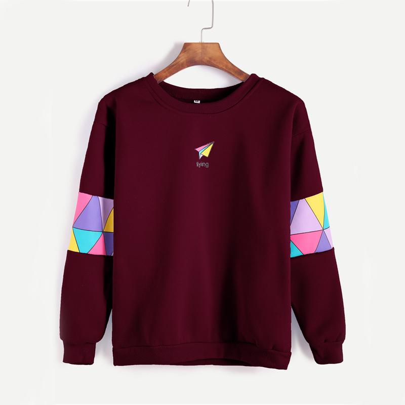 Paper Airplane Print Sweatshirt Women Patchwork Trim Burgundy Pullover Autumn O Neck Graphic Long Sleeve Sweatshirt-SHIRTS-SheSimplyShops