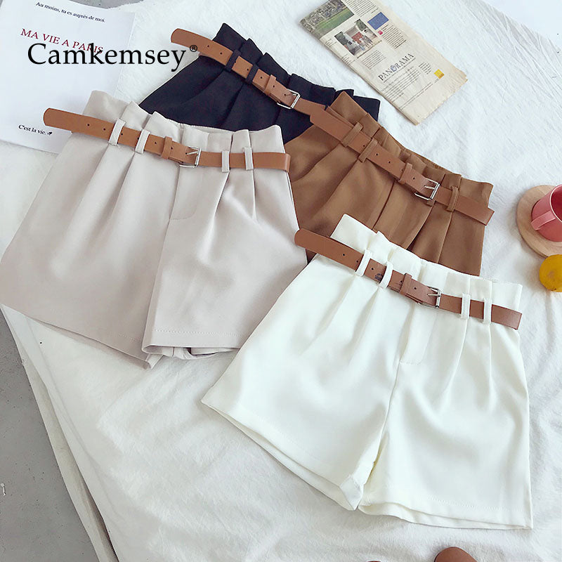 CamKemsey Korean Brief Design White Suit Shorts For Women 2019 Fashion Solid High Waist Wide Leg Shorts With Belt 5 Colors