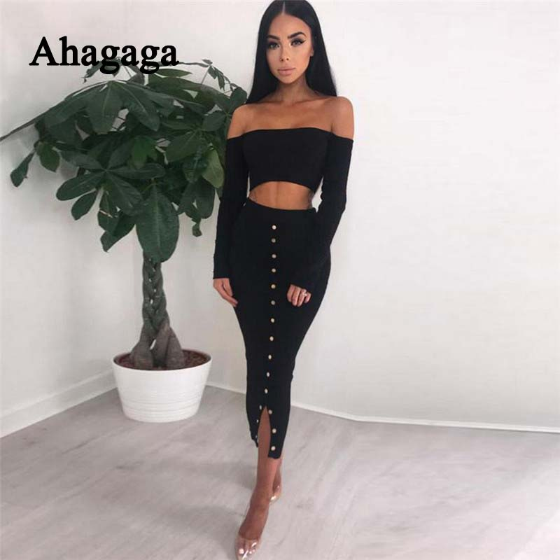 Ahagaga Spring Tracksutis Women Suits Botton Solid Elegant Women Costume 2-pieces (Tops+Skirts) Suit Set For Female