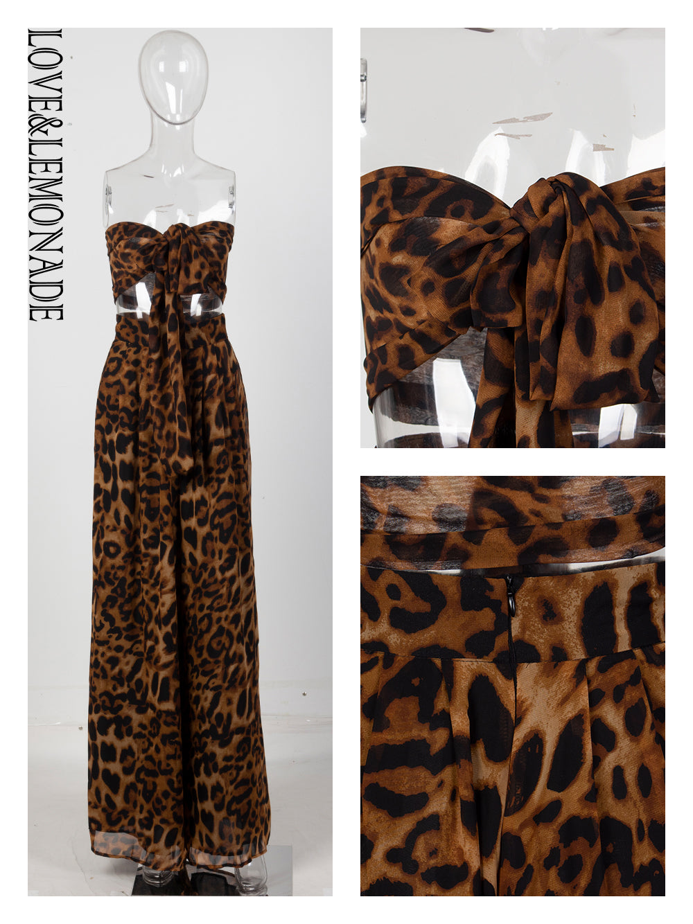 Love&Lemonade Sexy Two-Pieces Leopard Chiffon High Waist Sets LM6473-5