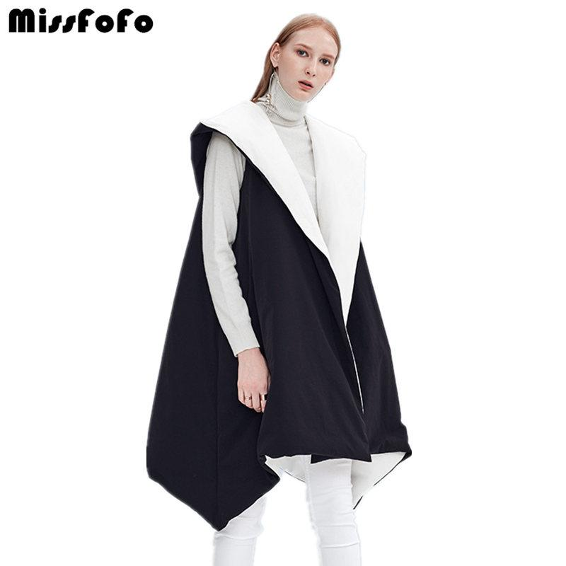 New Autumn And Winter Down Vest Coat Female Reversible Cloak Casual Medium-Long Sleeveless Duck Down High Quality-Coats & Jackets-SheSimplyShops