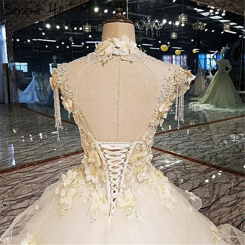 Train Lace High Neck Wedding Dresses Sleeveless Crystal Tulle Bridal Gown-Dress-SheSimplyShops