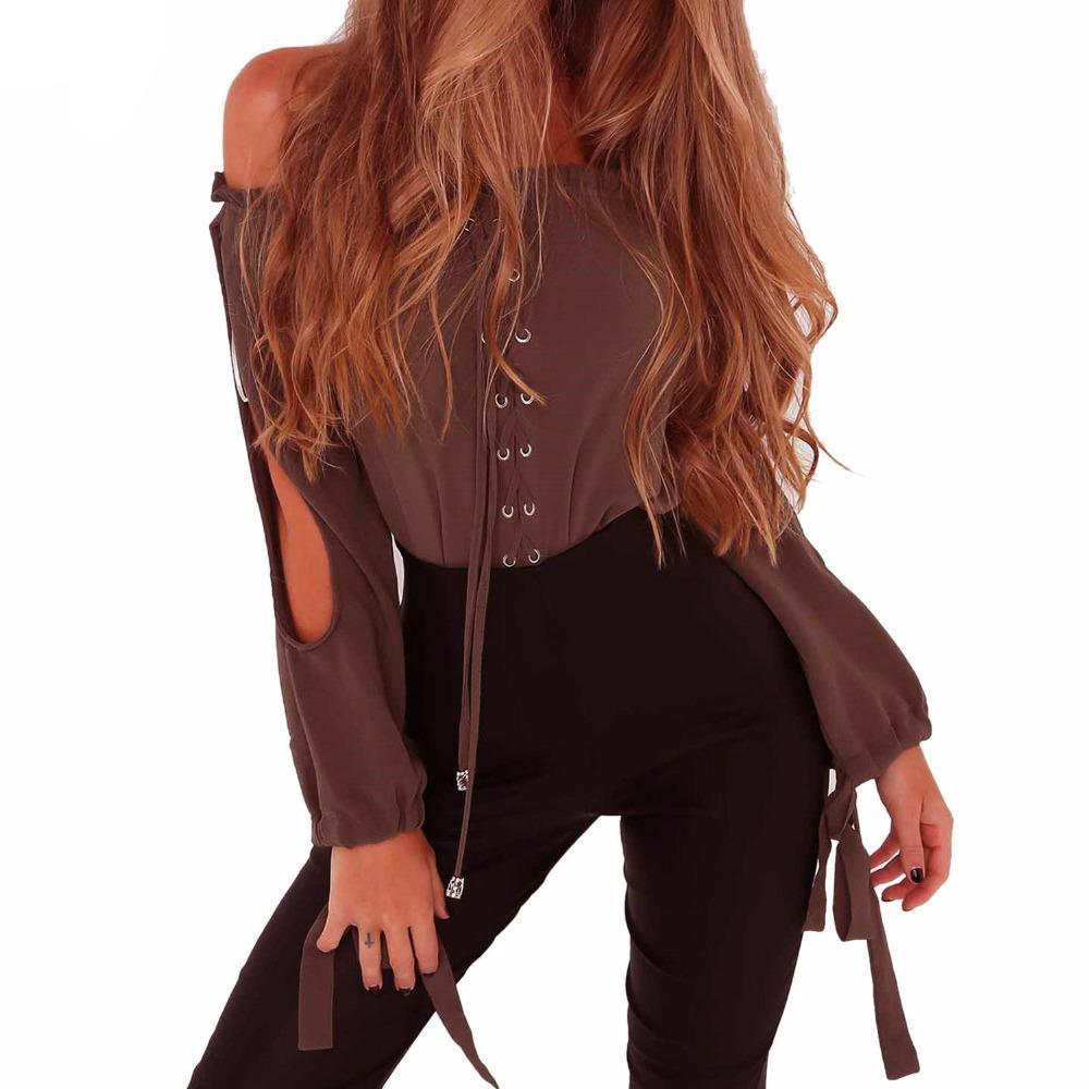 Off Shoulder Lace Up Lattice Slit Long Sleeve Tie Cuff Chiffon Blouse Ruffles Trim Street Style Top-Blouse-SheSimplyShops