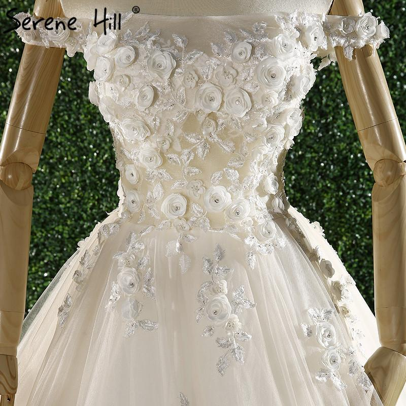 Newest Princess Lace Train Wedding Dress Boat Neck Pearls Flowers Bride Gowns-Dress-SheSimplyShops
