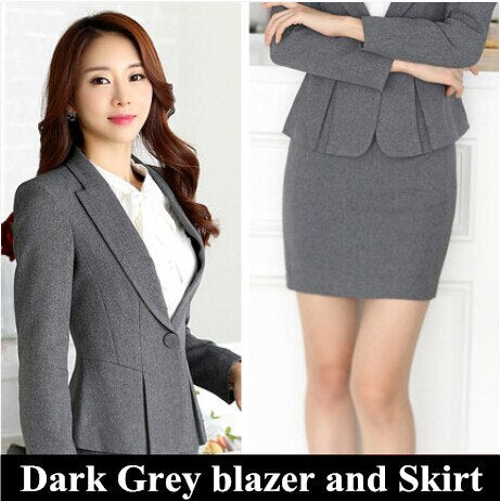 High quality formal suit women slim work wear office ladies long sleeve blazer skirt suits costumes for female with skirt