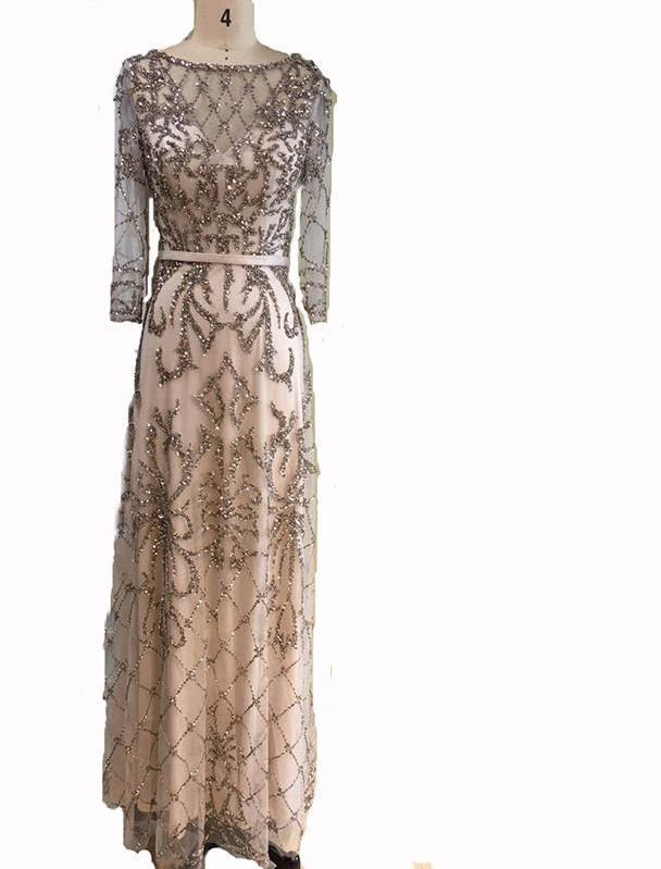 Grey Long Sleeve Fashion Evening Gowns Beading Sequined Beach Evening Dress Long-Dress-SheSimplyShops
