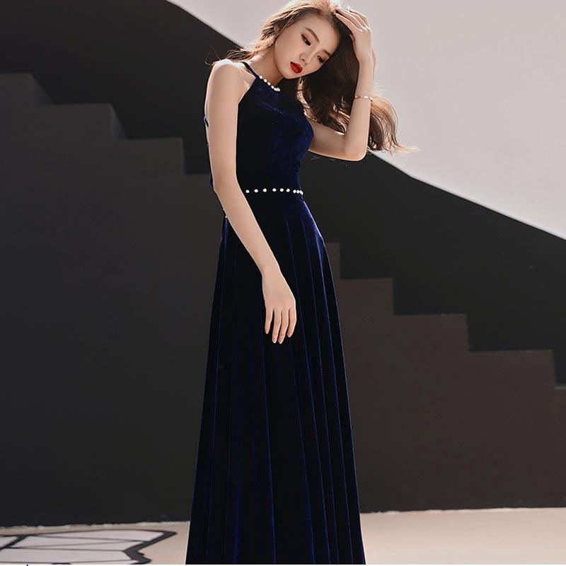 FADISTEE New arrival party dress evening dress Vestido de Festa sexy sequins velour A-line belt prom gown navy 2019 new style
