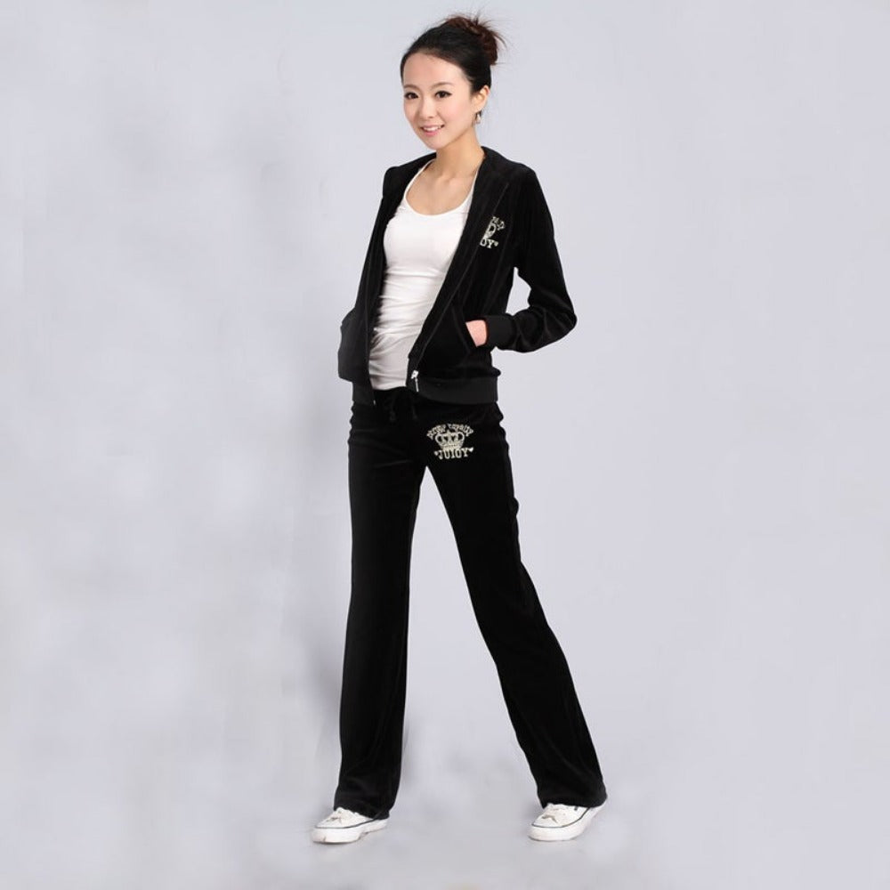 Spring / Fall 2019 Women'S Brand Velvet Fabric Tracksuits Velour Suit Women Track Suit Hoodies And Pants  black