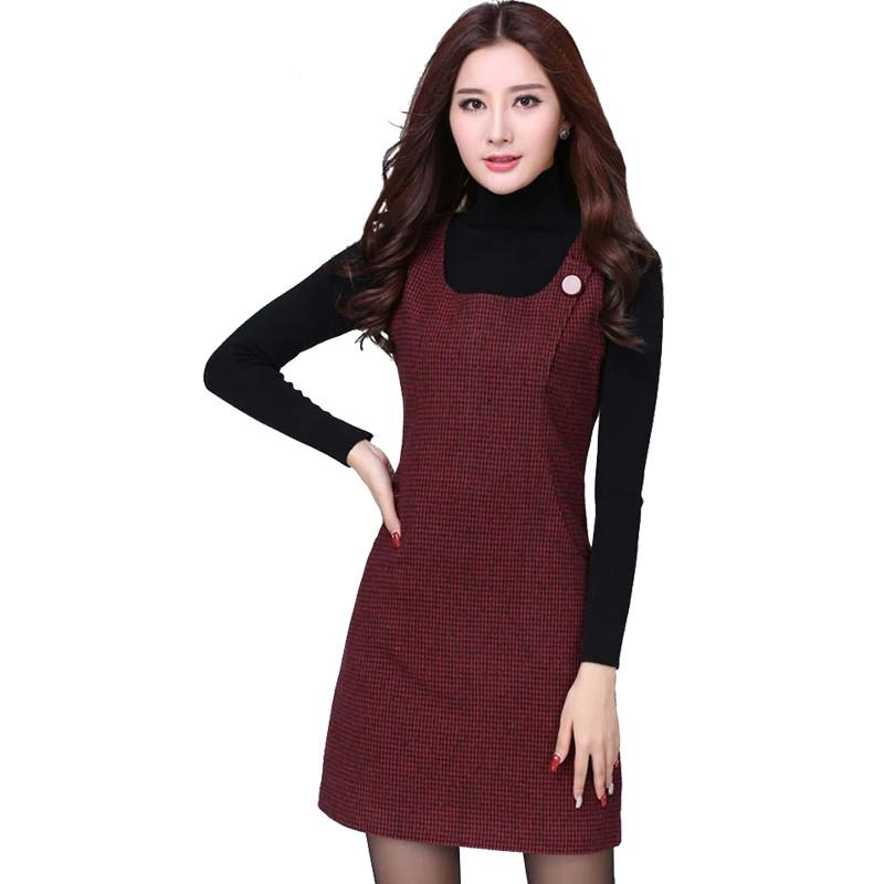 Autumn Winter Woollen Women's Dress Vest Dresses Slim Basic Office Dress Female-Dress-SheSimplyShops