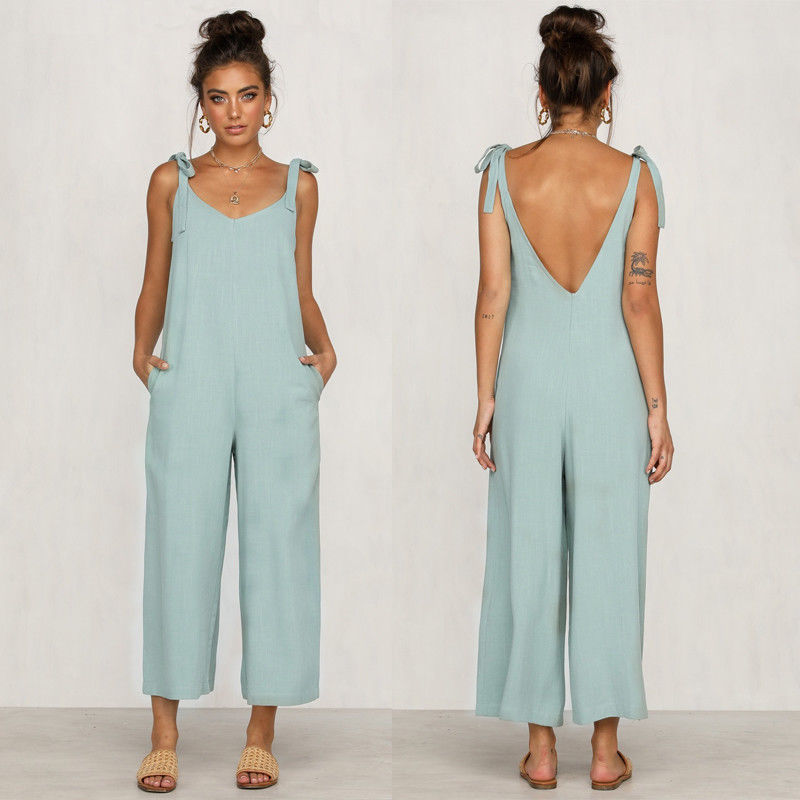 Rompers Summer Women Casual Loose Linen Cotton Jumpsuit Sleeveless Backless Playsuit Trousers Overalls