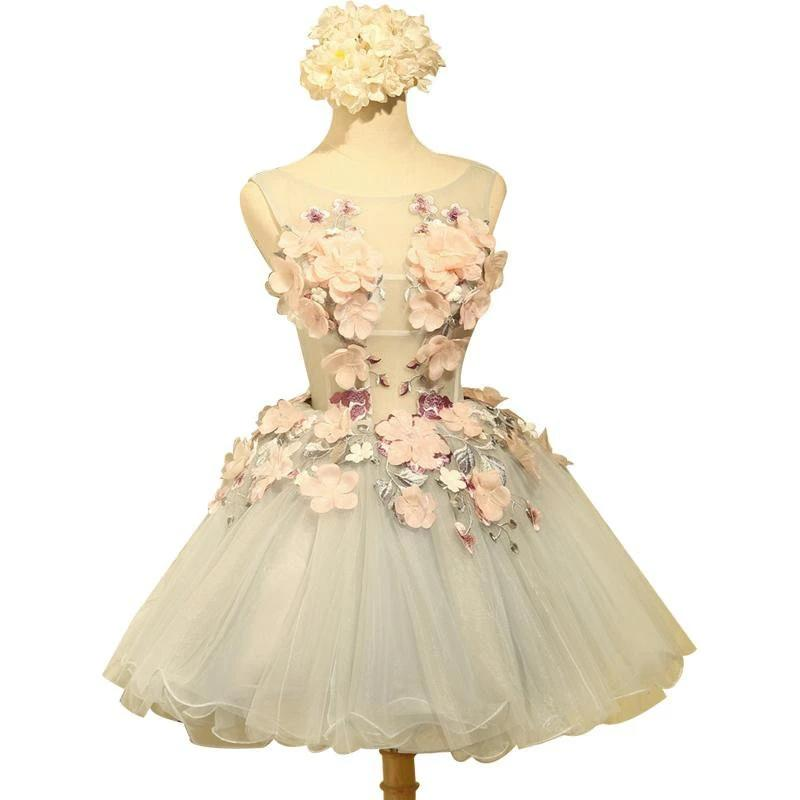 Fashion New Arrvial Sweet Flower Cocktail Dress Bride Sweet Organza Sleeveless Appliques Mini Party Ball Gown-Dress-SheSimplyShops