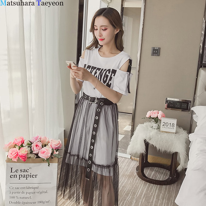 Holes Belt Skirts and See Through yarn Suits Women Summer Skirt Sets for Women's Cotton T-shirt + Skirt 2 Piece Sets