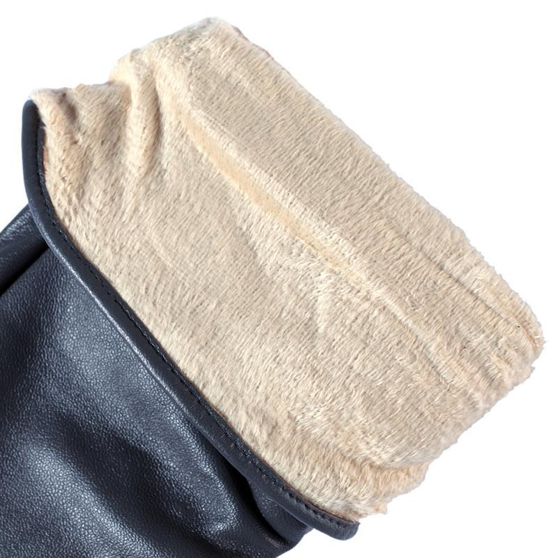 Genuine Leather,Cotton,Adult,Grey,Spandex,Length 45-48CM, leather gloves-GLOVES-SheSimplyShops