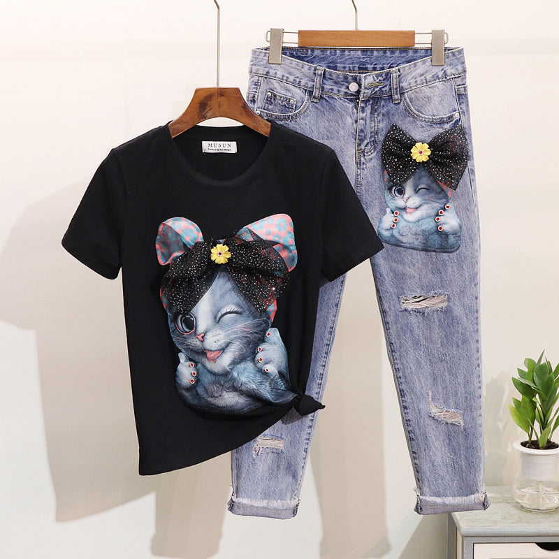 ALPHALMOD European American Studded Cute Cartoon Cat Short-sleeved T-shirt Tidy Ripped Jeans Trousers Trendy Clothes