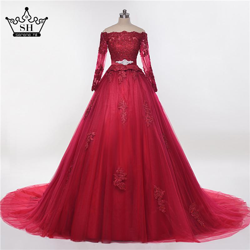 Puffy Burgundy Arab Wedding Dress Elegant e Lace Floor Length High Quality Tulle-Dress-SheSimplyShops