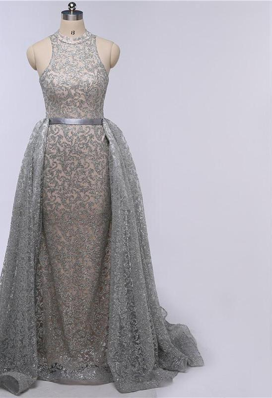 Grey Mermaid Luxury Sexy Evening Dresses Sleeveless Sequined Sparkly Evening Gowns-Dress-SheSimplyShops