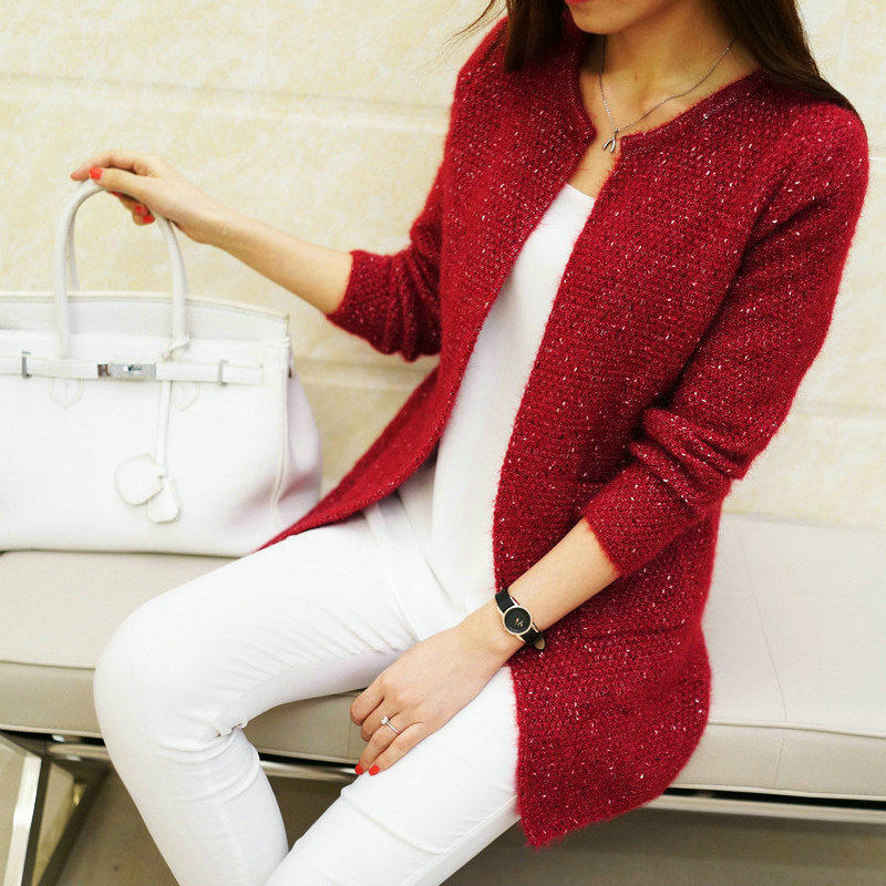 Autumn Winter Women Casual Long Sleeve Knitted Cardigans Crochet Ladies Sweaters Tricotado Cardigan