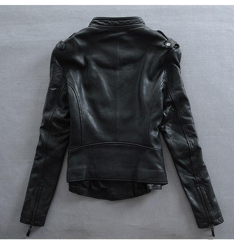 Factory 2018 Women Slim Cool Punk Style High Quality Genuine Leather Imported 100% Real Goat Skin Jackets Korea Outwear