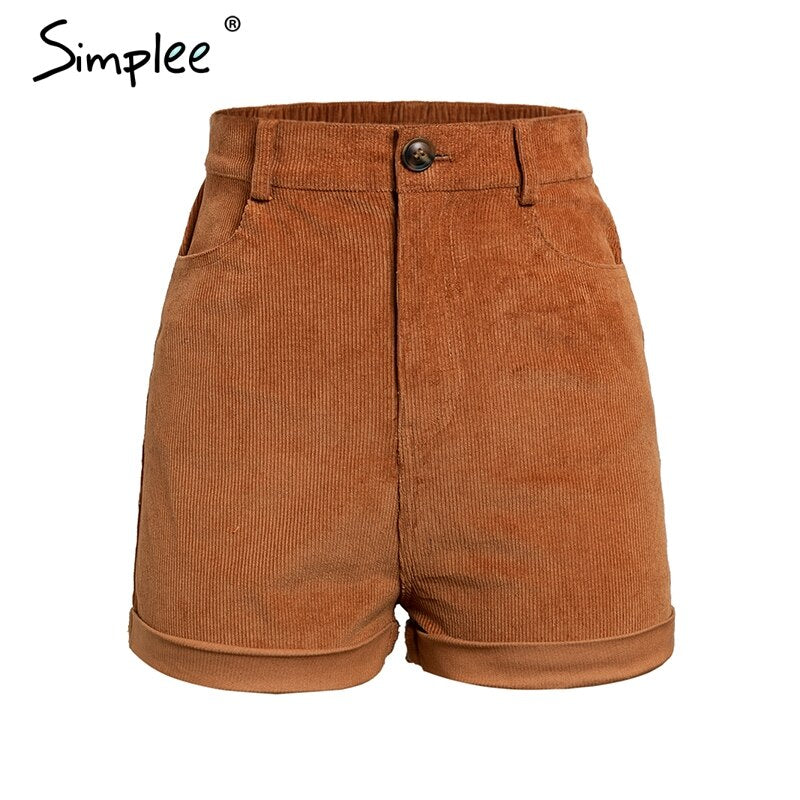 Simplee Vintage Elastic high waist corduroy shorts women Casual streetwear shorts female Loose spring zipper button shorts