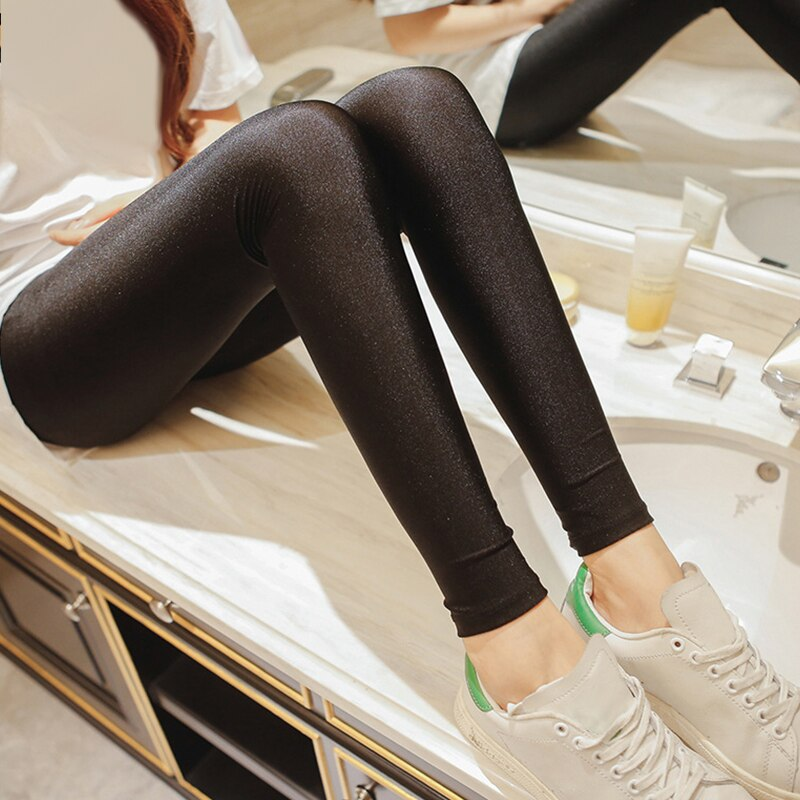 Hot Selling 2019 Women Solid Color Fluorescent Shiny Pant Leggings Large Size Spandex Elasticity Casual Trousers For Girl