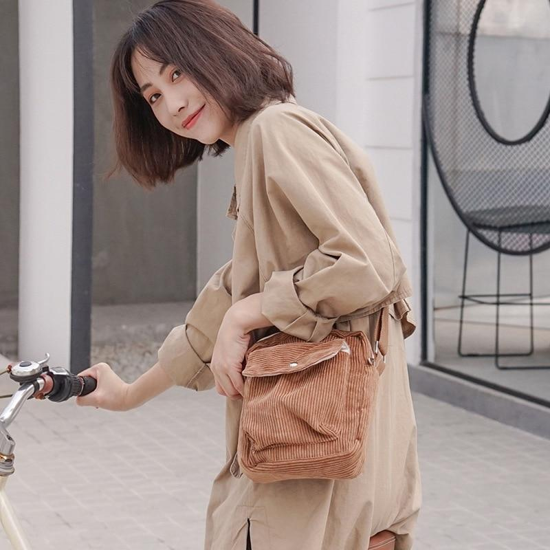2019 Winter Women Corduroy Flap Bag Female Canvas Zipper Shoulder & Crossbody Bag Preppy Style Phone Coin Money Bags For Girls