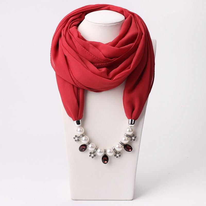 RUNMEIFA Solid Jewelry Statement Necklace Pendant Scarf Head Scarves Women Foulard Femme Accessories Muslim Hijab Stores