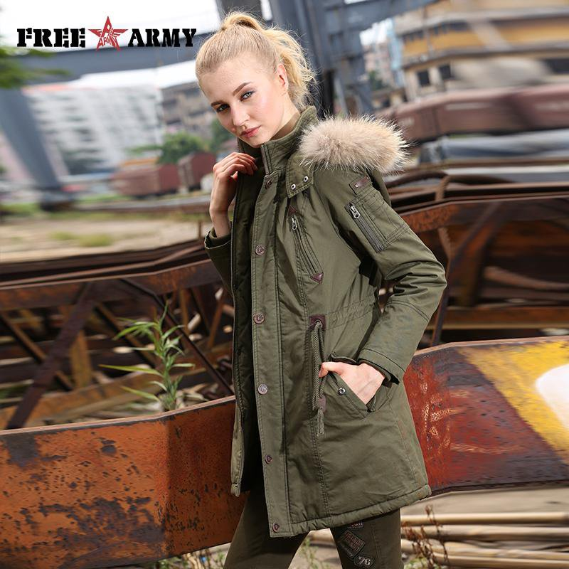 Winter Women Wadded Jacket Female Coat Fur Collar Thickening Hooded Military Women Outerwear Down Parka-Coats & Jackets-SheSimplyShops