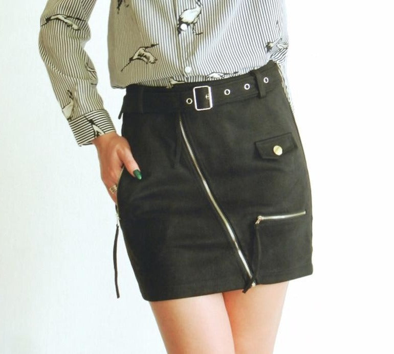 Suede Zipper Mini Skirt Women Street Wear Motorcycle Belt Pencil Skirt Fashion Elegant Winter Short Skirt Female-SKIRTS-SheSimplyShops