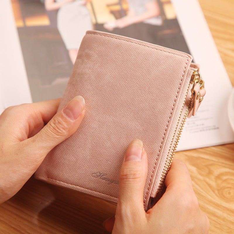 Fashion Top Quality Women Wallets  Small Wallet PU Matte Leather Purse Short Female Coin Wallet Zipper Clutch Purse Credit Card