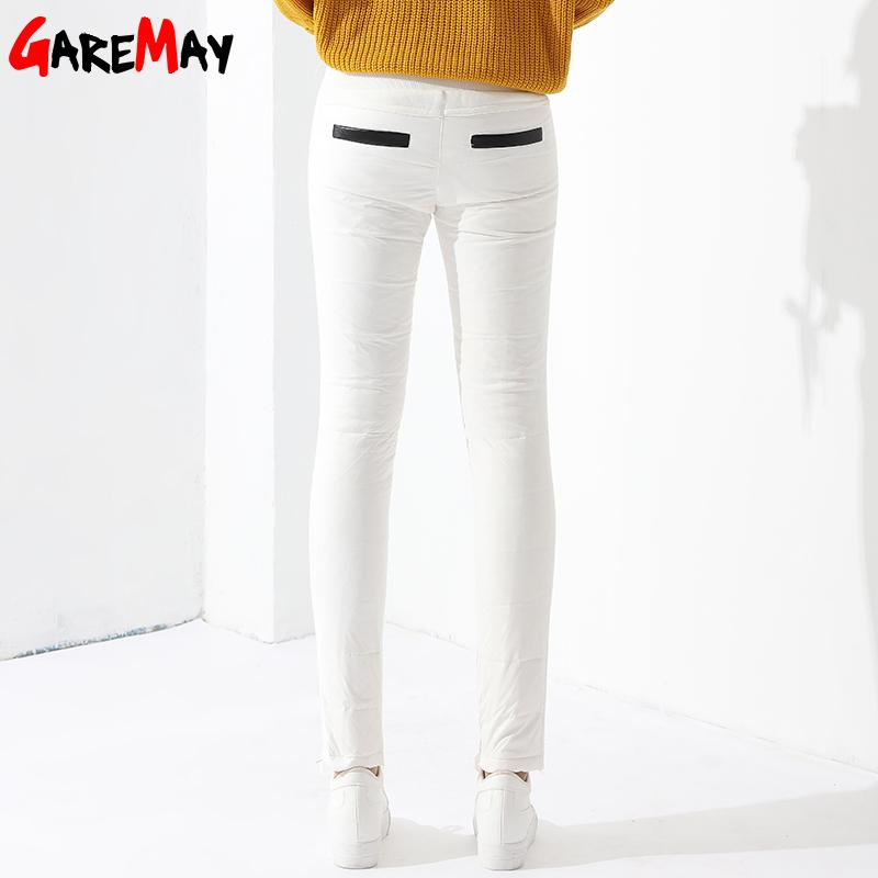 Warm Women's Trousers Winter Pants Women White Color High Waist Duck Down Pants-PANTS-SheSimplyShops