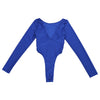 iEFiEL Women Bodysuit Long Sleeve High Cut Crotchless Thong Leotard Body String Catsuit Jumpsuit Womens Dancing Clothing