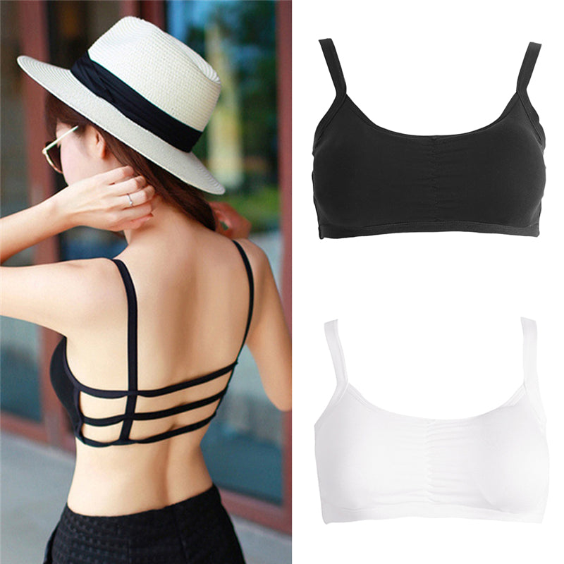 Women Sling Camisole Vest Stretchable U-Neck Slim Sexy Back Strappy Tank Tops QTYZ942