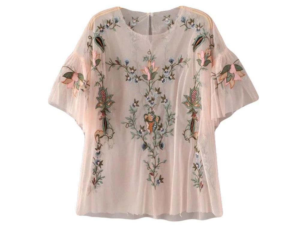Summer O Neck Flare Sleeve Women Shirt Transparent Sexy Top Floral Embroidery Blouse Mesh Shirt-Blouse-SheSimplyShops