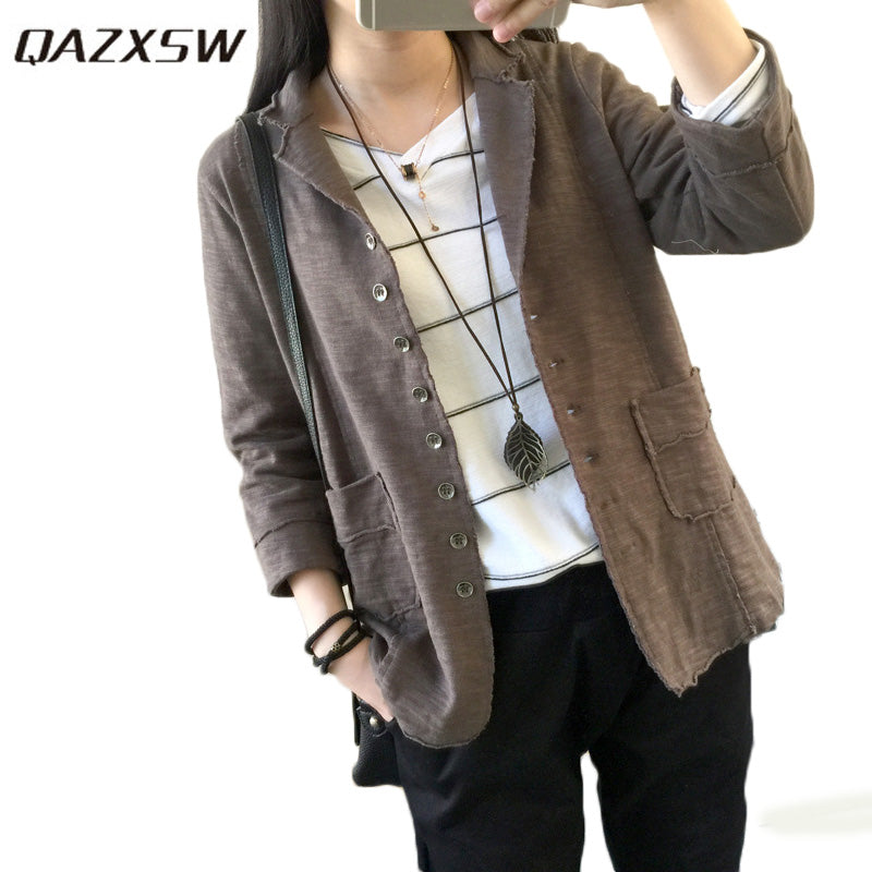 QAZXSW 2018 New Spring Women Blazer Plus Size Women Jacket Cotton And Linen Coat Turn Down Collar Casual Blazer Feminino HB642