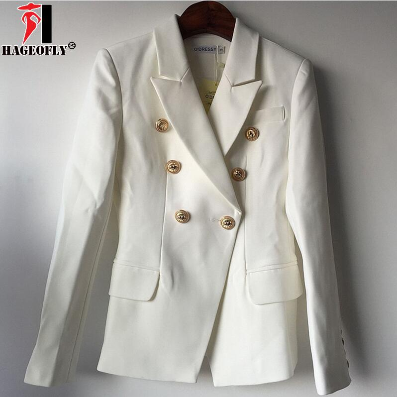 HAGEOFLY Design Black White Blazer Women Work Office Formal Double Breasted Buttons Blazers Autumn Plus Big Size Blazers
