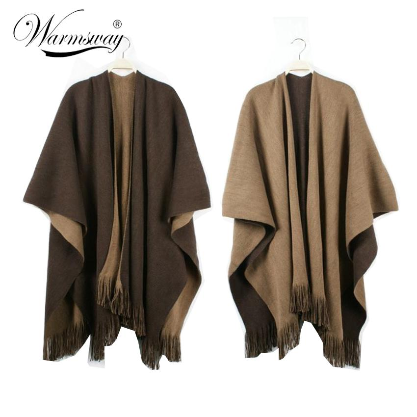 Over Sized Reversible Reversed Women Winter Knitted Cashmere Poncho Capes Shawl Cardigans Sweater Coat-Coats & Jackets-SheSimplyShops
