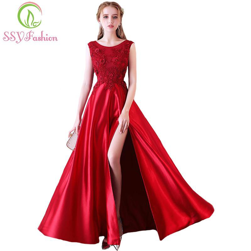 New The Bride Banquet Elegant Evening Dress Wine Red Satin High-split Lace Flower Floor-length Prom Party Formal Gown-Dress-SheSimplyShops