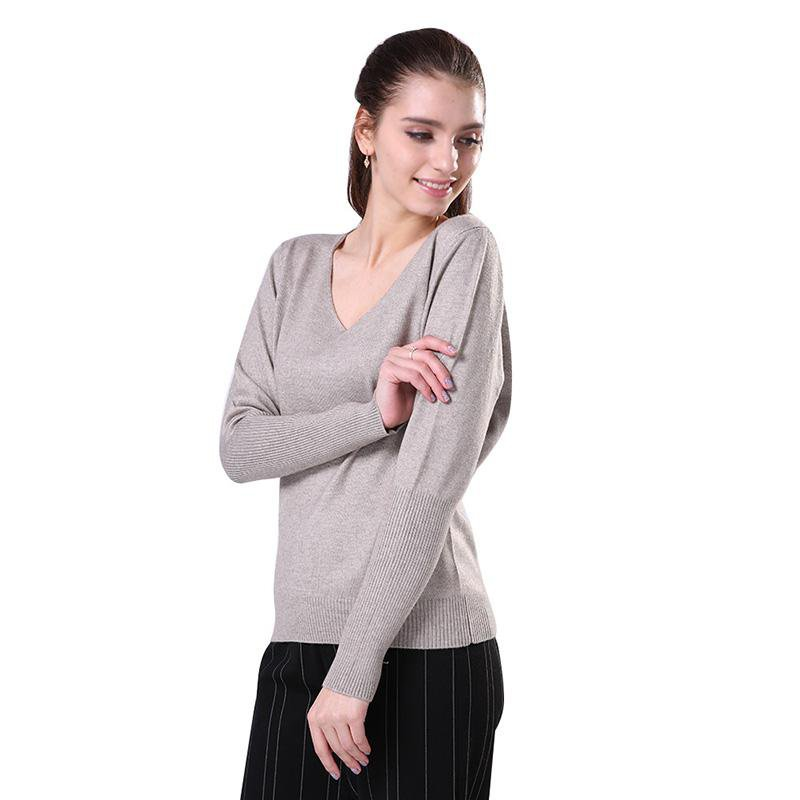 Women Spring V-Neck Knitted Pullover Lady Autumn Sleeve Soft Casual Knitwear Sweater-SWEATERS + CARDIGANS-SheSimplyShops