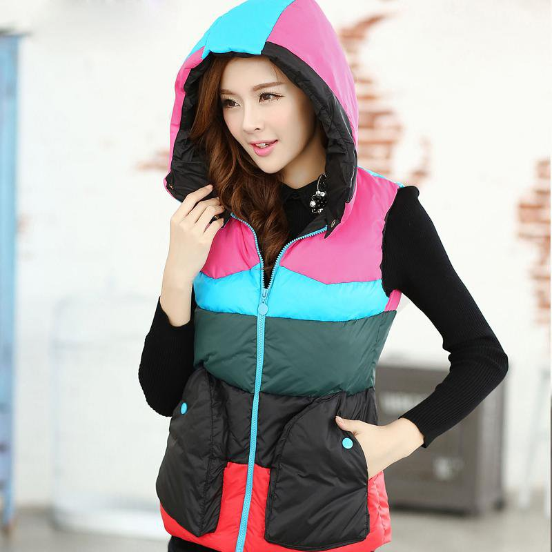 women's cotton wool collar hooded down vest with hat Hot high quality Brand New female winter warm Jacket&Outerwear Thicken
