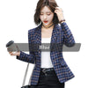 Lenshin Soft and Comfortable High-quality Plaid Jacket with Pocket Office Lady Casual Blazer Women Wear Single Button Coat