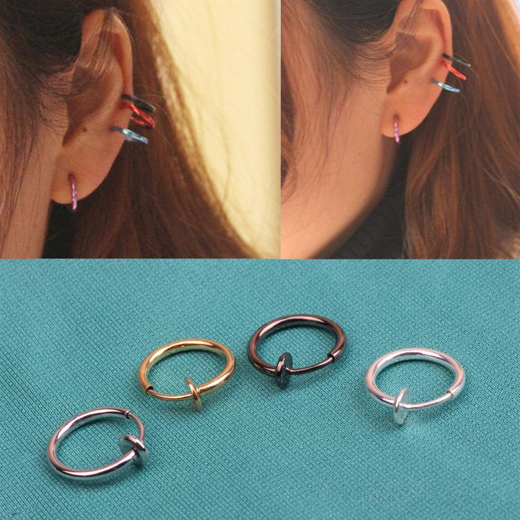 8 PCs Fashion Punk Clip On Piercing Nose Lip Hoop Rings Earrings 4 Colors-EARRINGS-SheSimplyShops