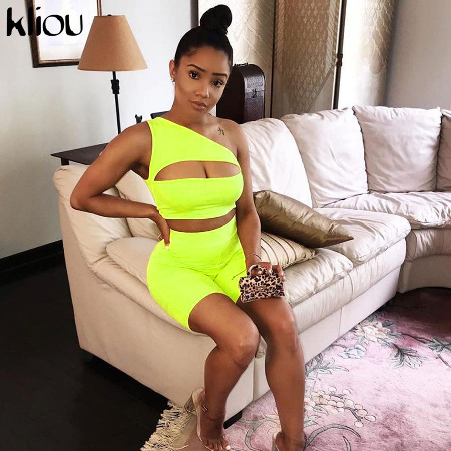 Kliou 2019 summer women neon color two pieces set off shoulder hollow out crop top elastic high waist shorts outfit tracksuit