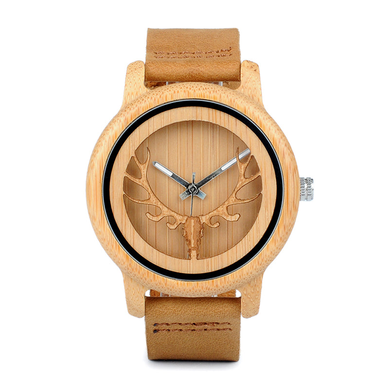 BOBO BIRD CA27 Hollow Deer Head Bamboo Wood Casual Watches for Men Women Ladies Leather Strap Quartz Watch free shipping