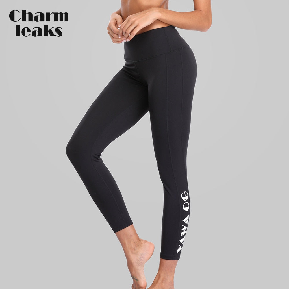 Charmleaks Women Yoga Pants Women Slim High Waist Sport Pants Gym Fitness Elastic Trousers Outdoor Running Breathable Sport Wear