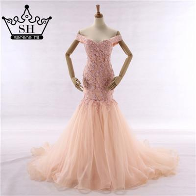 New Sexy Mermaid Wedding Dress Pink Color Beading Lace Sleeveless Bride Dress-Dress-SheSimplyShops