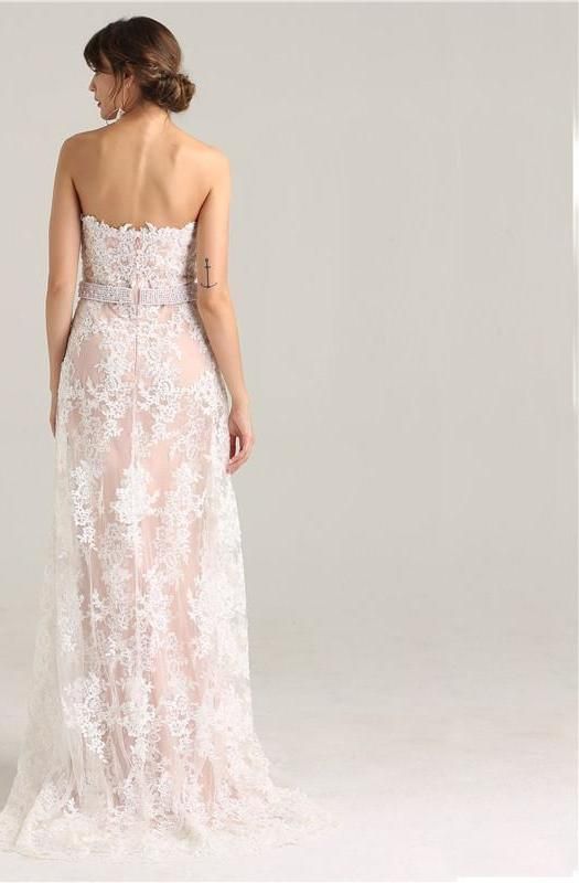 Fashion Beading Sequined Evening Gowns Strapless Sexy Mermaid Lace Elegant Evening Party Dress-Dress-SheSimplyShops