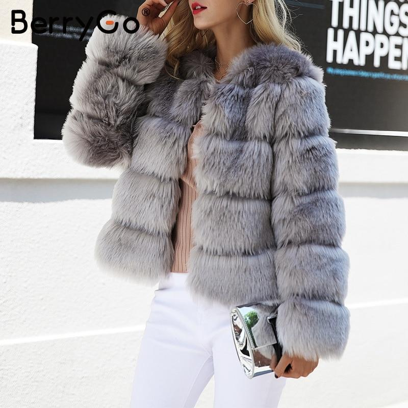 BerryGo Fluffy faux fur coat women Short furry fake fur winter outerwear pink coat 2017 autumn casual party overcoat female